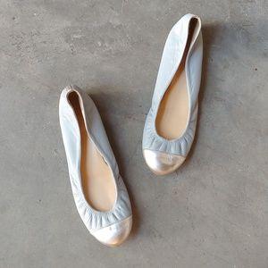 J. Crew Blue Silver Cece Cap Toe Ballet Flat 8